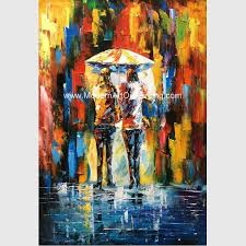framed palette knife oil painting on canvas abstract art paintings umbrella girls