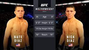 UFC 4 - Nate Diaz vs. Nick Diaz [1080p ...