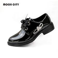 patent leather oxfords women loafers classic casual womens shoes lace up 2019 ladys loafers lace up