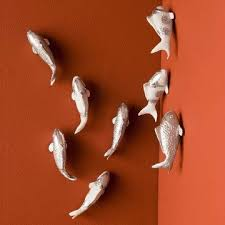 silver koi fish wall art