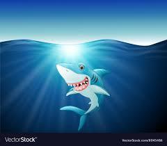 cartoon funny shark on the sea vector image