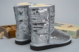 UGG Women Classic Short Sparkles 3161 Boots Silver