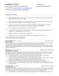 Resumes Social Media Manager Resume Pdf Format Job Description
