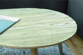 whitewashed round coffee table