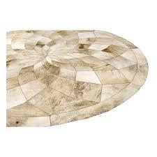 reduced patchwork cowhide rug circle diamond light beige