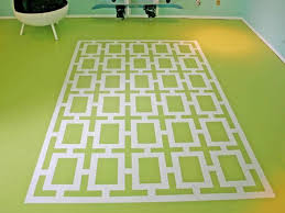 faux painted rug with large scale geometric pattern