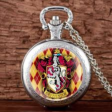 details about vintage harry potter hogwarts gryffindor pocket watch quartz pendant necklace