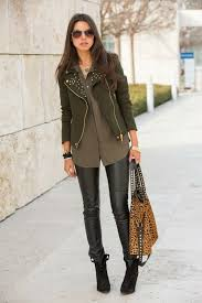 how to wear olive biker jacket brown on down blouse black leather leggings