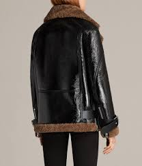 women s hawley oversized shearling biker jacket black brown image 9