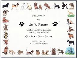 Dog Birth Certificate Roho 4senses Co Puppy Template Whosonlineco