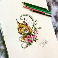 Russia Cats татуировки рысь и акварель