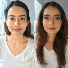 a before and after makeup look from jennymabeauty nyc bridal makeup