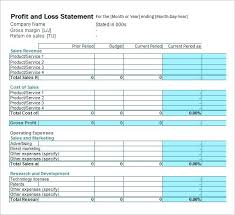 Free Profit And Loss Statement Template Adorable Projected Profit And Loss Template Best Of Statement In Excel Simple