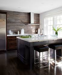 Small Picture Lovely kitchen features dark stained cabinets paired with white