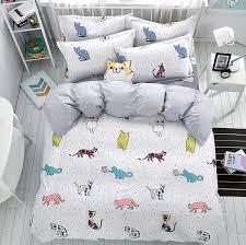 2017 new 4pcs lovely cat cartoon kids bedding set queen size duvet cover sets pillowcase bed
