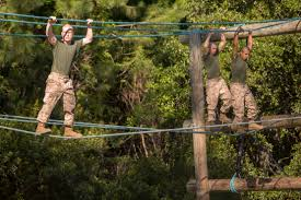 u s department of defense photo essay marine recruits sidestep along ropes during a confidence course on parris island s c