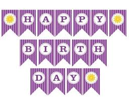 Purple Happy Birthday Banner Happy Birthday Banner Printable Happy Birthday Banner Printable