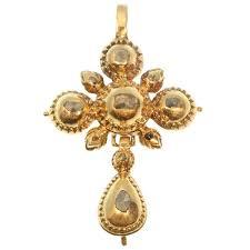 antique gold cross pendant set with rose cut diamonds description by adin antique jewelry