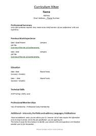 basic curriculum vitae template curriculum vitae template clinical professionals