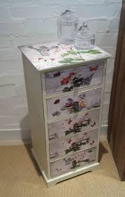floral decoupage furniture. chest of drawers vintage chic floral decoupage drawer unit bedside cabinet table furniture