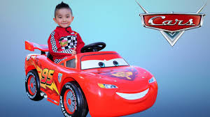 unboxing disney cars lightning mcqueen battery powered ride on car 12v test drive ckn toys you