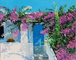 blue door in greece garden oil paintings