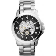 me3055 grant fossil mens watch watches2u fossil me3055 mens grant silver steel bracelet watch