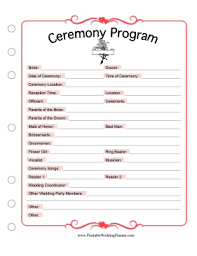 Blank Wedding Planning Checklist Ceremony Program
