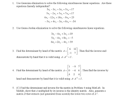 question use gaussian elimination to solve the following simultaneous linear equations are these equation