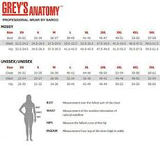 Barco Grey S Anatomy Scrubs Size Chart Maries Medical