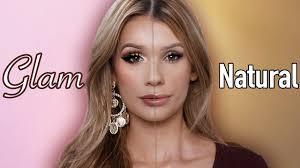 glam vs natural makeup tutorial
