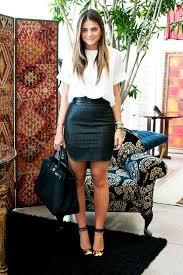 black mini skirt leather white tee heels via