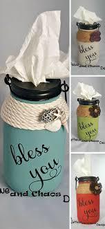 $12.99 Bless you Mason Jar tissue holder. #Farmhouse #homedecor #red #blue