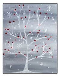 Easy paintings on canvas Acrylic Painting Winter Snowflake Tree With Red Cardinal Ideastand 15 Easy Canvas Painting Ideas For Christmas 2017