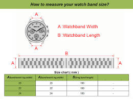 Watch Band Width Size Chart Stainless Steel Watch Bracelet Watchband With Butterfly