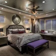 How To Decorate A Tray Ceiling Tray Ceiling Bedroom With Grey And Fan Drawers Decorating Ideas 27