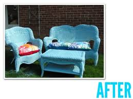 painting rattan furniturewicker furniture makeover  before  after  Scoutie Girl
