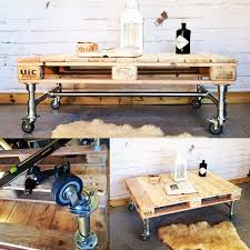 making industrial furniture. making industrial style coffee table from scaffold poles and recycled pallet wood furniture