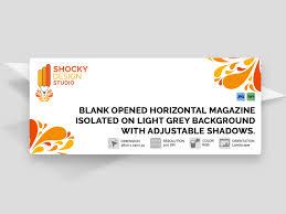 Shocky Design Studio Blank Opened Horizontal Magazine Isolated