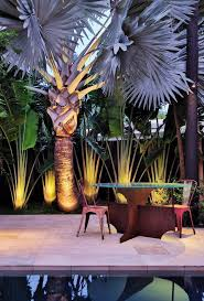 tropical outdoor lighting. miami patio with illuminated tropical foliage decoist outdoor lighting