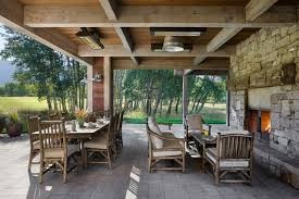 waller rustic furniture Patio Farmhouse with coffered ceiling