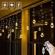 Bloomwin Usb Lichtervorhang 3x065m 120leds Kugel Lichterkette Warmweiß Weihnachtsbeleuchtung Stimmungslichter Innen Für Fenster Weihnachten Party