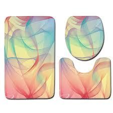 3pcs bathroom rug sets 3d color print modern bath mat and toilet mat sets foam kitchen mats