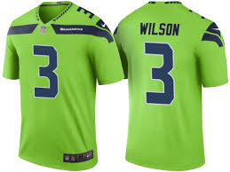 Russell Wilson Mens Seattle Seahawks Color Rush Legend Jersey Green Sports Team Line