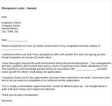 Formal Resignation Letter Example Job Resignation Letter Template With Notice Templates