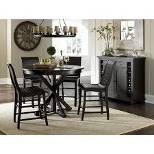 progressive furniture willow distressed black complete round counter table