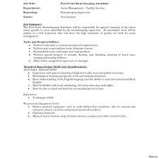 Housekeeper Resume Hospital Housekeeping Job Description Resume Maid Duties 95