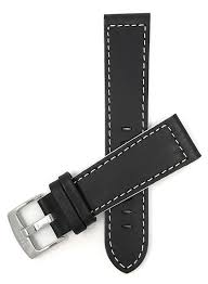 maddox black with white stitching leather race watch strap band 18mm 24mm tictoc