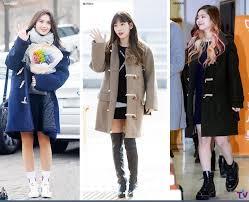 Cute winter women airport outfits ideas Flannel Shirt Korea Korean Kpop Idol Girl Group Band Twice Ioi Snsd Coat Black Skirt Idol Winter Outfit Kpop Korean Hair And Style Outfit Ideas Archives Kpop Korean Hair And Style