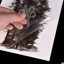 1 шт водостойкая временная татуировка наклейка нагрудное тату с часами волк лес